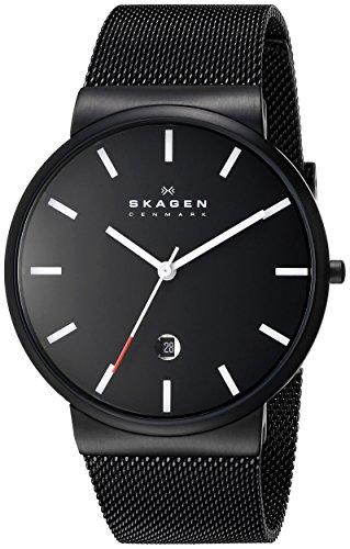 "Skagen Watches low price: Skagen Men's SKW6053 ""Ancher"" Black Stainless Steel Watch with Mesh Band"