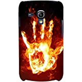 For Samsung Galaxy S3 Mini I8190 :: Samsung I8190 Galaxy S III Mini :: Samsung I8190N Galaxy S III Mini Fire Hand ( Fire Hand, Hand, Burning Hand, Fire ) Printed Designer Back Case Cover By FashionCops