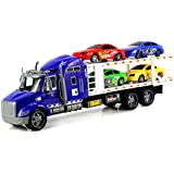 No2 Racing Trailer Children's Kid's Friction Toy Truck Ready To Run W/ 4 Toy Cars, No Batteries Required (Colors...