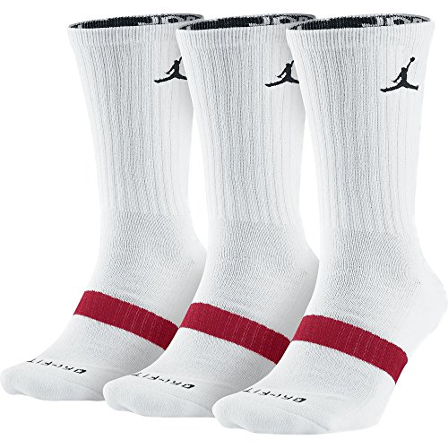 Jordan Dri-Fit Long 3-Pack Crew Socks White/Black/Red 546481-100 (Size L) (Black Red White Jordans compare prices)