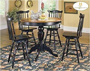 pub style dining room tables | Amazon.com: 5pc Country Style Black Finish Pub Dining ...
