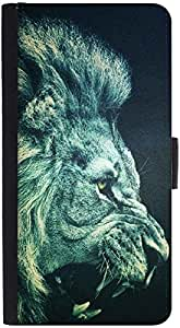 Snoogg Lion Fury Graphic Snap On Hard Back Leather + Pc Flip Cover Htc One X