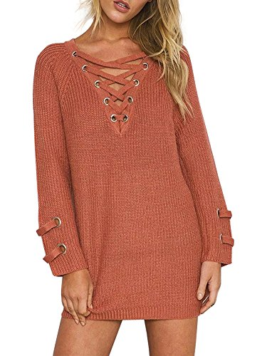 Simplee Apparel Women's Long Sleeve Lace up Knit Pullover Sweater Dress Red,One Size