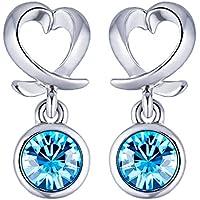 Swarovski Cross Heart Blue Droplet Dangling Earrings for Women by YELLOW CHIMES