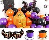 【C.C-br】ハロウィン風船黒紫オレンジ計150枚&紐&蝙蝠のバルーンセット【crecerオリジナル】(150個)