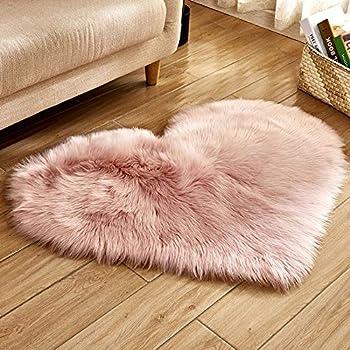 Harpi Heart-Shaped Wool Imitation Sheepskin Rugs Faux Fur Non Slip Bedroom Shaggy Carpet Mats