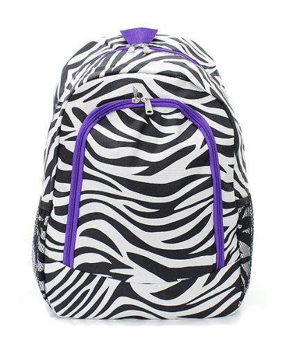 Zebra Print Large Lightweight Backpack (Dark Purple)