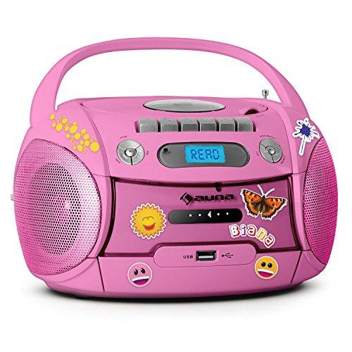 Auna Boomgirl Radio Registratore Portatile Stikers CD USB MP3 Rosa