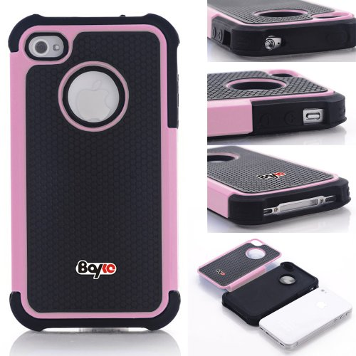 Bayke Brand High Impact Dual Layer 2in1 Hybrid Armor Bumper PC and Soft Silicone Rubber Gel Skin Case for iPhone 4/4S (Baby Pink) at Amazon.com
