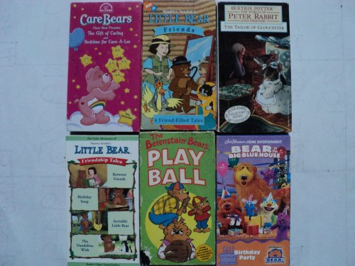 Kids And Children 6 Pack Vhs Movies: Care Bears, Gift Of Caring & Bedtime, Little Bear Friends (4 Friend Filled Tales), Beatrix Potter In The World Of Peter Rabbit Tailor Gloucester, Little Bear Between Friends - Birthday Soup - Invisible Little Bear - Da