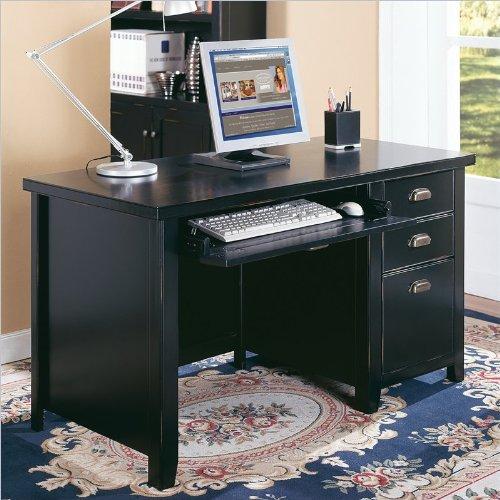 Kathy Ireland by Martin Tribeca Loft Black Single Pedestal Desk