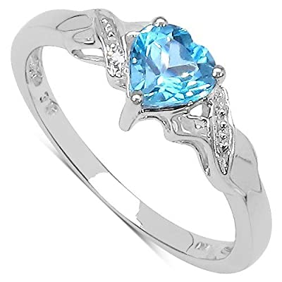 The Blue Topaz Ring Collection: 9ct White Gold Heart Shaped Swiss Blue Topaz with Diamond Set Shoulders Engagement Ring