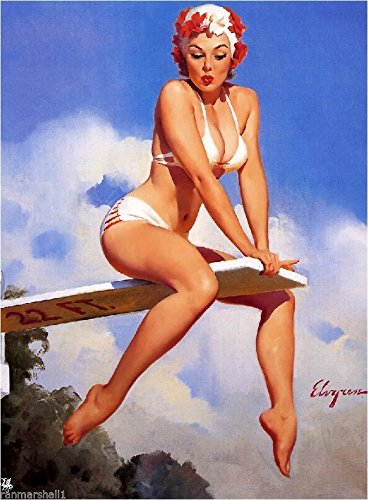 [1940s Pin-Up Girl On The High Dive 2 Picture Poster Print Art Pin Up] (1940s Pin Up Girl)