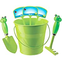 Kids Gardening Set With Rake Trowel And Plant Markers (Green Frog)