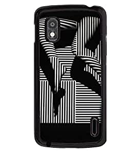 Printvisa Black And White Striped Stockings Pic Back Case Cover for LG Google Nexus 4::LG Nexus 4 E960::LG Nexus 4::LG Mako