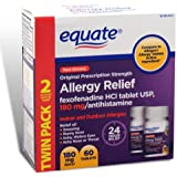 Equate - Allergy Relief - Fexofenadine 180 mg, 60 Tablets (Compare to Allegra Allergy)
