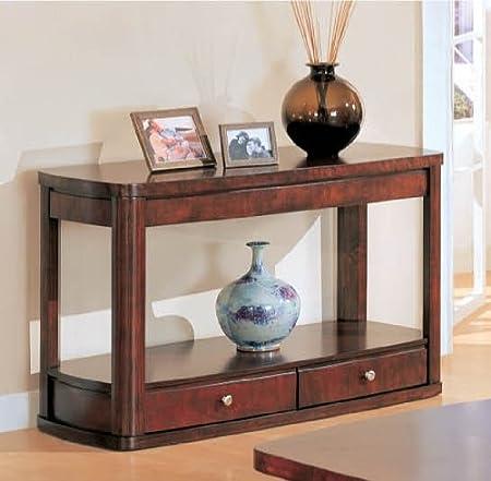 Dark Cherry Sofa Table with Storage Drawer