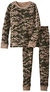 Cuddl Duds Big Boys' Cozy Thermal Long Underwear Set, Boot Topo Camo, Small