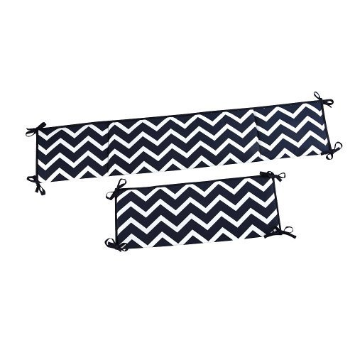 Happy Chic Baby By Jonathan Adler - Charlie Navy Chevron 4-piece Crib Bumper - 1