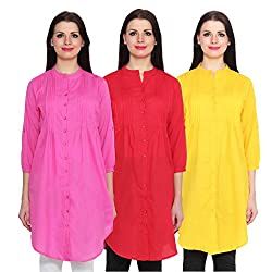 NumBrave Pink, Red & Yellow Long Cotton Top (Pack of 3)