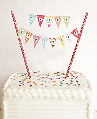 ELSKY Mini Happy Birthday Cake Bunting Banner Cake Topper - Multicolor Pennant Flags with Gold Dots Straw Pole