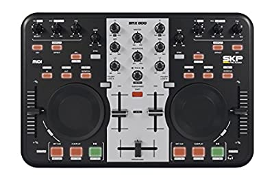SKP Pro Audio SMX-800 DJ Controller 2 Channel Midi Controller with Soundcard, Virtual Dj and RCA Cables, Full Warranty (ProSoundGear) by SKP Audio