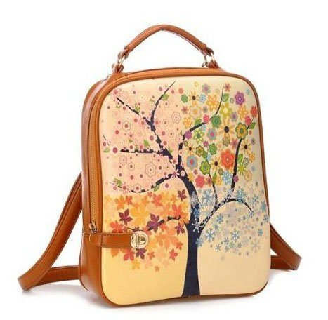 Bee&rose 2013 New Fashion Stylish Life Tree Scrawl Painting School Laptop Backpack Pu Leather Ladies Tech Friendly Backpack/purse for Ipad,ipad Mini,touch,ipad2,3,4,galaxy note 8.0,galaxy tab p3100,p5110,p7300,p7310,G70,huawei,notebook,laptop,and Plen