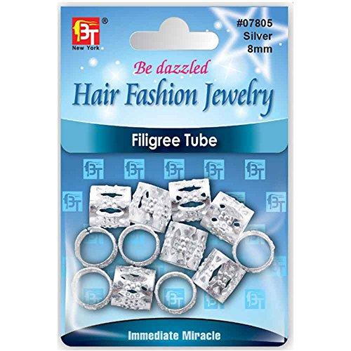 Filigree Tube Hair Fashion Jewelry for Crochet Box Braid Dreadloc Faux Loc Braiding hair Beauty Town 8mm (2 packs, Silver) (Hair Clips For Locs compare prices)