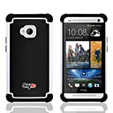 Bayke Brand for HTC One M7 Dual Layer 2in1 Hybrid Armor Bumper PC and Soft Silicone Rubber Gel Skin Case (White)