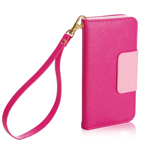 Mylife Rose Pink And Light Pink Matte Design - Textured Koskin Faux Leather (Lanyard Strap + Card And Id Holder + Magnetic Detachable Closing) Slim Wallet For Iphone 4/4S (4G) 4Th Generation Touch Phone (External Rugged Synthetic Leather With Magnetic Cli