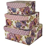 Decorative Nested Flip Top Storage Boxes Nested (Set of 3) (UR3)