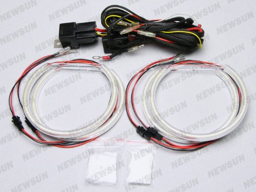 Newsun 3014 Smd 126-Led Angel Eyes Kit Halo Ring Headlight 4X131Mm White For Bmw E46 E39 E38 E36, Angel Eyes With Wire Harness