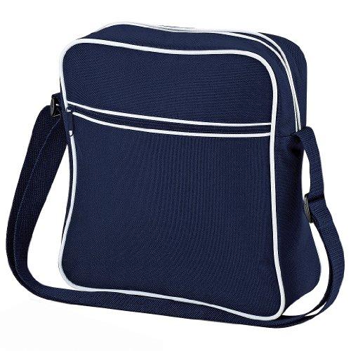 Bagbase - Borsa da viaggio stile retrò - 7 Litri (Taglia unica) (Blu navy/Bianco)