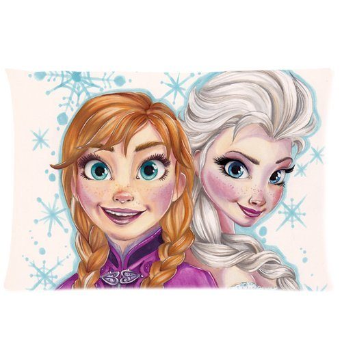 VIP-HomeStyle Customizable Zippered Cotton Pillow Case Pillowcase 20x30 Inch, Frozen Anna And Elsa -OSPC689 handpainted pineapple and fern printed pillow case
