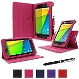 rooCASE Google Nexus 7 FHD 2nd Gen Tablet Dual-View Folio Case Cover - Magenta (with Pen Stylus) Nexus 7 2 2013 Model