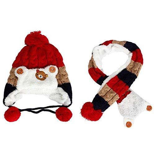 TAORE Baby Girls Boys Winter Earflap Hat Scarf Hood Scarves Skull Caps (Red)