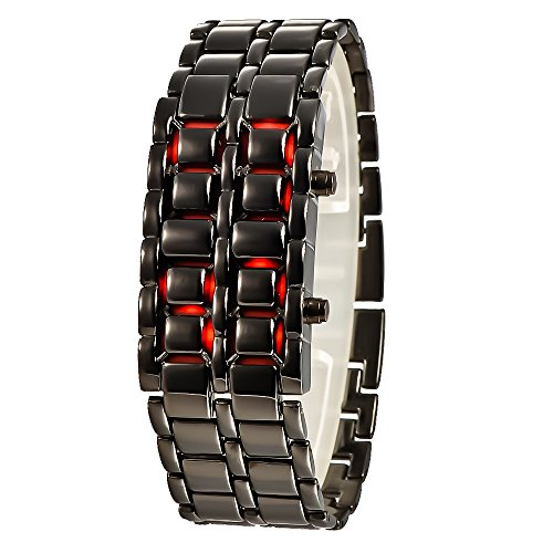 Mudder Iron Faceless Red Binary Led Wrist Watch For Man Black