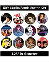 80's MUSIC BUTTONS pins bands groups 1980's eighties new!