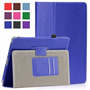 SAVEICON PU Folio Leather Case Cover with Built-in Stand for Apple iPad 1 1st Generation (iPad 1, Blue)