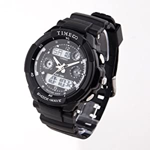 TIME100 Dual-time Multifunction Black Bezel Sport Electronic Watch #W40017M.01A