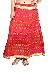 Aura Life Style Georgette Brocade Women's Long Skirt / Lehenga (ALSK4038D,Free Size,Red)