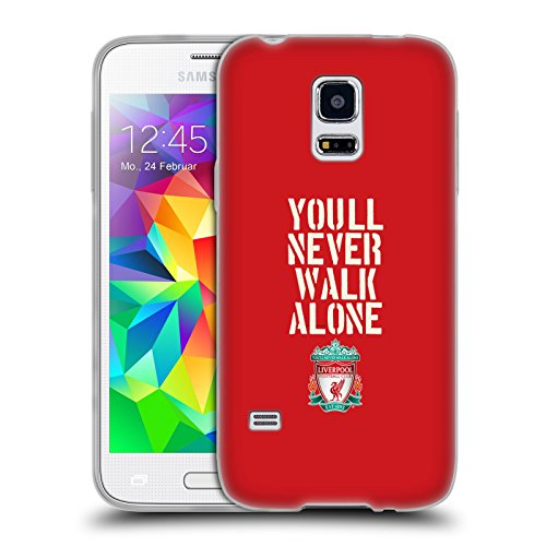 Ufficiale Liverpool Football Club Stencil Rosso Crest YNWA Cover Morbida In Gel Per Samsung Galaxy S5 mini