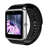 AirsspuTM Bluetooth Smart Watch with Camera Cell Phone Touch Screen Wristwatch Phone Mate for Android Samsung HTC Sony Lg and Iphone 6plus Smartphone (Silver)