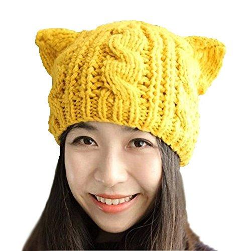 d9a9e09021937 Springwell Women s Hat Cat Ear Crochet Braided Knit Caps (one size ...