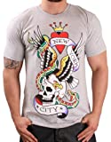 Ed Hardy By Christian Audigier Men's Crew Neck New York T-Shirt Tee Gray Size M