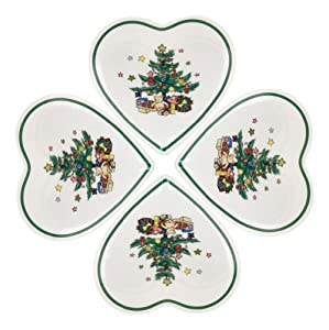 Nikko Christmas Tree Heart Dish, 5.75-inch, Gift Boxed, Set of 4