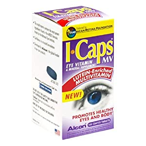 Alcon I-Caps Eye MultiVitamin Lutein Enriched -- 100 Coated Tablets