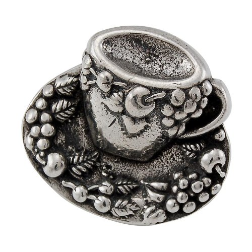 Vicenza Designs K1062  Cappuccino Cup Knob, Large, Vintage Pewter