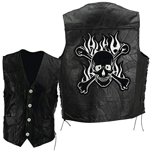 Black Leather Look Biker's Vest. This awesome jacket includes a skull and cross bones emblem on the back and can be used to create your own 80s rock/metal costume.