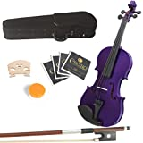 Mendini 16-Inch MA-Purple Solid Wood Purple Viola with Hard Case, Bow, Rosin, 2 Bridges and Extra Strings